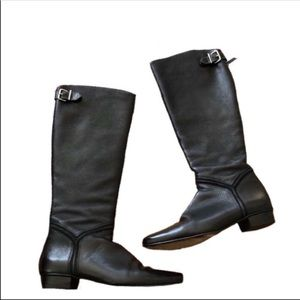Cole haan Black leather knee high riding boots